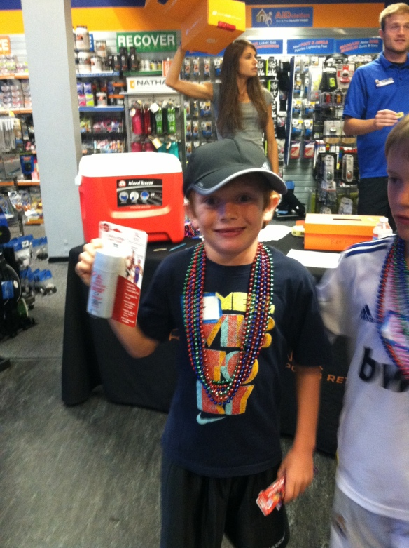 Icing on the cake?  At Road Runner VIP night Strawberry did an 8:00 min timed mile and then won the prize every 7 year-old dreams of - Body Glide. The best part of it all - explaining what Body Glide is used for.