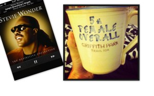 My morning' s inspiration: old race coffee mug and a little Stevie Wonder