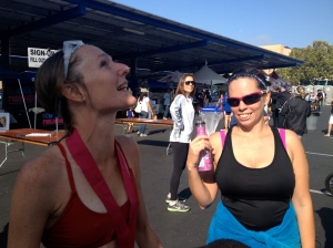 Chatting it up with Heather post race - whatever I was saying was clearly very dramatic.