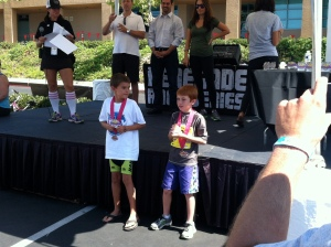 At the awards ceremony - placed 2nd in his AG out of 7.  Go kiddo!