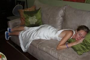 Yes that's me fake sleeping in my wedding dress and Converse sneakers