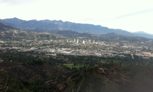 View of the San Fernando Valley...in the background was the first snow in the San Gabriel's