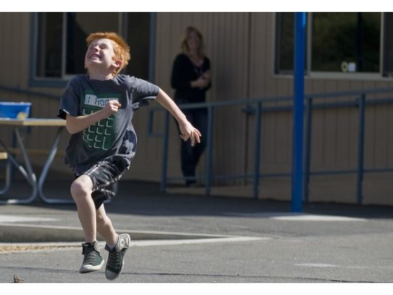 Photo Courtesy of the OC Register when Strawberry first saw me after the race....