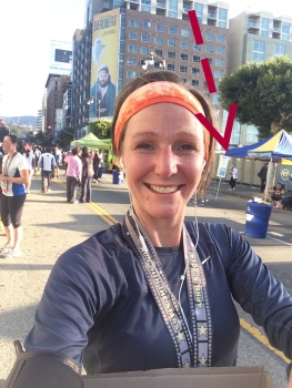 Ironically I saw this later - I snapped a quick selfie for mumsie dear after the race and realized later the bathrooms were RIGHT behind me.  DOH!